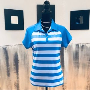 UA Blue Striped Golf Polo Shirt Sz L